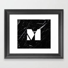 Black Marble - Alphabet M Framed Art Print
