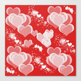 Floating Hearts And Flowers Canvas Print