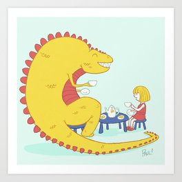 Morning Tea-Rex Art Print