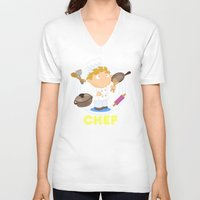 chef V-neck T-shirts featuring Chef by Alapapaju