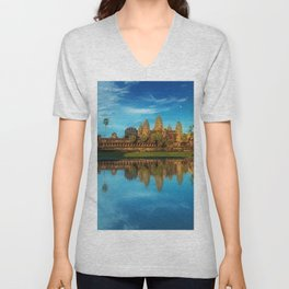 Sky Blue Day at Angkor Wat Buddist Temple, Cambodia by Lor Teng Huy Unisex V-Neck