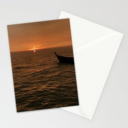 Sunset view with small boat, sampan at the seaside Stationery Cards