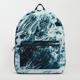 Disobedience - ocean waves painting texture Backpack