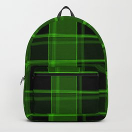 Strict strokes of light and green cells with bright stripes. Backpack