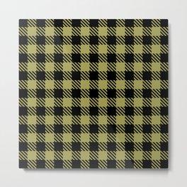 Plaid Pattern 512 Black and Olive Green Metal Print