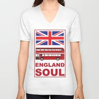 england V-neck T-shirts featuring England Soul by Tony Vazquez