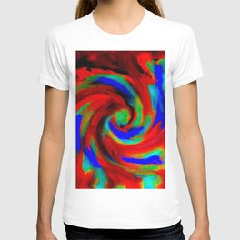 Red Blue Green Fireball Sky Explosion T-shirt