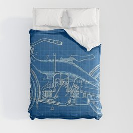 1919 Blue Horizontal Motorcycle Patent Blueprint Comforters
