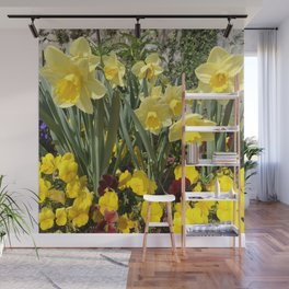 Floral Spring Garden with Daffodils and Pansies Wall Mural