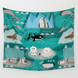 Arctic animals teal Wall Tapestry