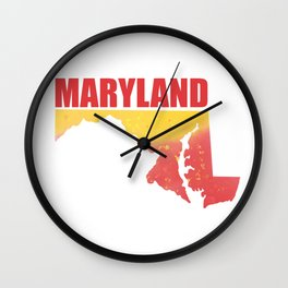 Maryland State Map Watercolor Print Wall Clock