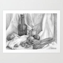 Still life graphite drawing Art Print