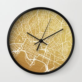 Gold Oslo map Wall Clock