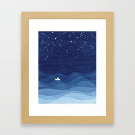 blue ocean waves, sailboat ocean stars Framed Art Print