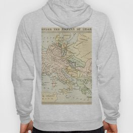 Old Map of Europe under the Empire of Charlemagne Hoody
