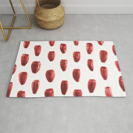 Red Sunflower Seeds Pattern Rug