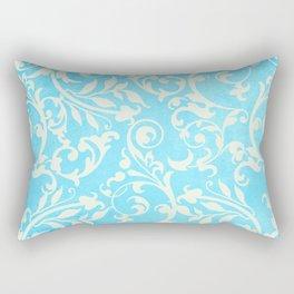 Shabby Chic Aqua Damask Rectangular Pillow