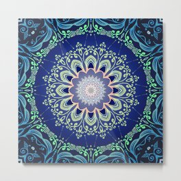 blue flowers mandala Metal Print