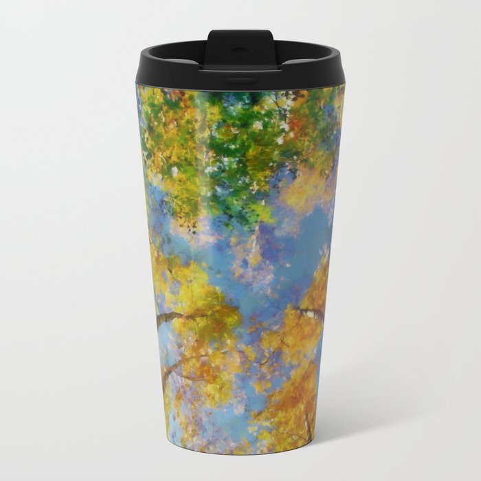 Fall trees in the sky Metal Travel Mug