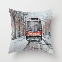 The 501 Neville Park Streetcar Throw Pillow
