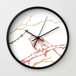Bird on branch (pink, brown on white) illustration Wall Clock