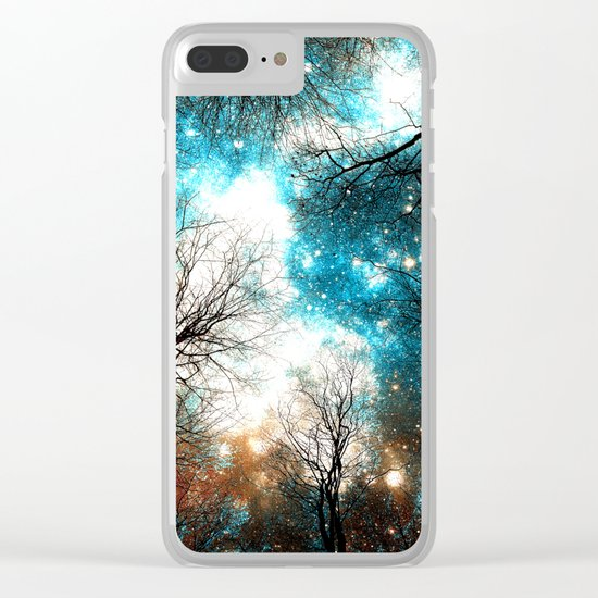 Black Trees Turquoise Brown Space Clear iPhone Case