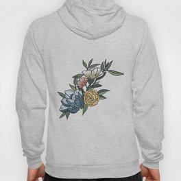 Pastel Peonies Watercolor Flowers and Leaves Hoody