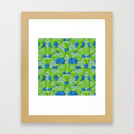 Lattice Floral Design Framed Art Print