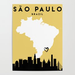 SAO PAULO BRAZIL LOVE CITY SILHOUETTE SKYLINE ART Poster