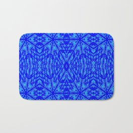 Blue on Blue Floral Pattern Bath Mat