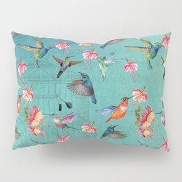 Vintage Watercolor hummingbirds and fuchsia flowers Pillow Sham