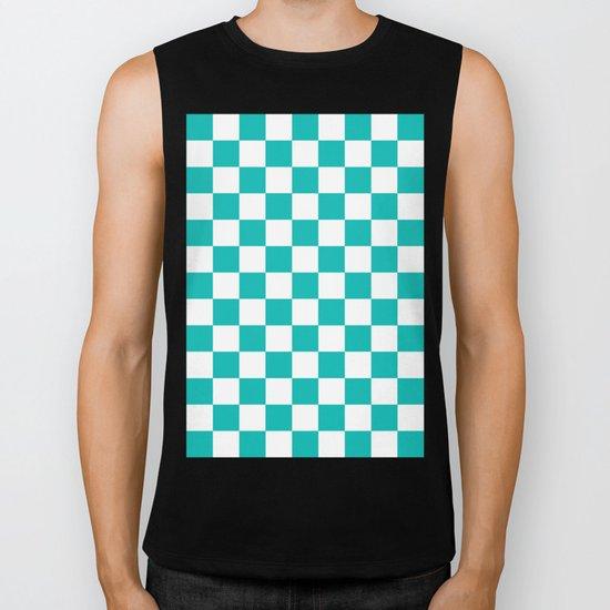 Checker (Tiffany Blue/White) Biker Tank