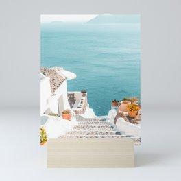Santorini Stone Pathway to the Sea, Greece Photography, Europe Photography Mini Art Print