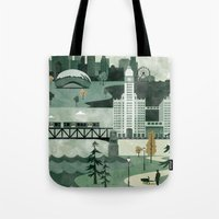 travel poster Tote Bags featuring Chicago Travel Poster Illustration by ClaireIllustrations