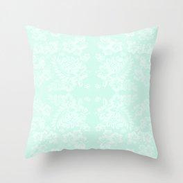Celadon Mint Green Pastels Tropical Hibiscus Flowers Pattern Throw Pillow