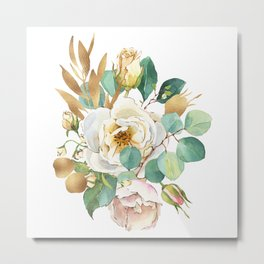 White flowers bouquet gold accent Metal Print
