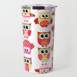 Funny cute hot pink yellow owl pattern Travel Mug