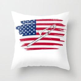 American Trombone Throw Pillow