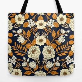 Navy Blue, Orange, Cream, Gold & White Floral Pattern Tote Bag