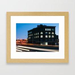 Red Rose Tea Building at Night, Saint John Framed Art Print