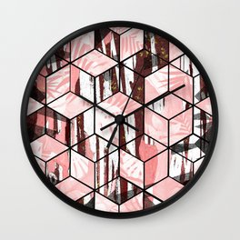 Tropical Pastel Geometric Cubes Design Wall Clock