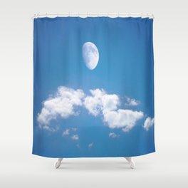 Daytime - Gibbous Moon Shower Curtain