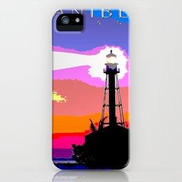 Sanibel Island Lighthouse Mixed Media Art iPhone Case