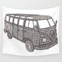 vw bus Wall Tapestries featuring Tangled VW Bus - side view by Cherry Creative Designs