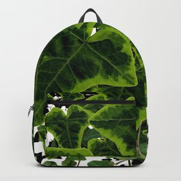 DECORATIVE GREEN IVY LEAVES PATTERN WHITE ART Backpack