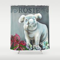 "haunted mansion Shower Curtains featuring Disneyland Haunted Mansion inspired ""Rosie""  by ArtisticAtrocities"