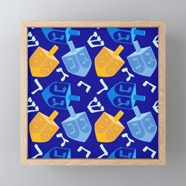 Hanukkah Dreidel Pattern In Holiday Blue And Gold Framed Mini Art Print