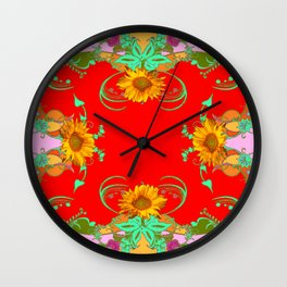 Sunflowers Red Gold Color Fantasy Scrolls & Flowers Ferns Art Wall Clock