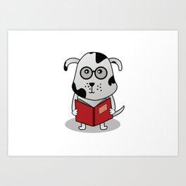 Geeky Bookworm Dog Cartoon in Spectacles Art Print