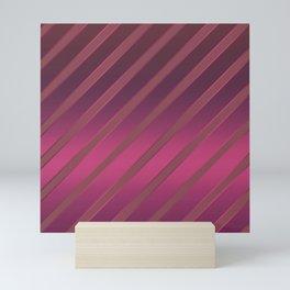 Slant red crimson stripes on a crimson satin background . Mini Art Print